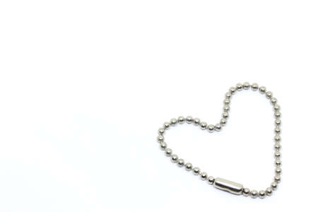 Ball Chain Key Ring in hearth shape, White background.