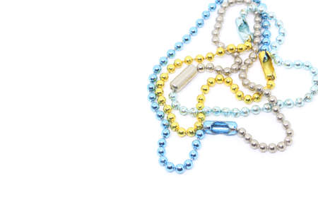 Ball Chain Key Ring in many colors, White background.