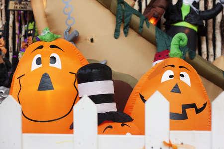 blowup: blow up pumpkin characters at shopping mall