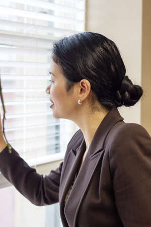 blinds: pretty asian businesswoman looking through office window blinds