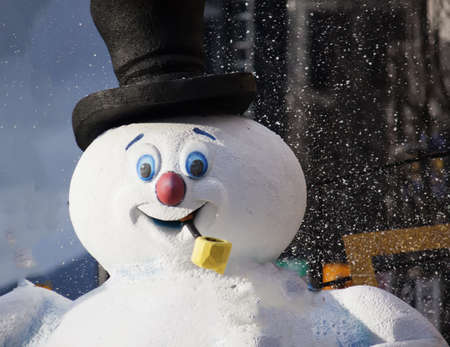 밴쿠버에서 크리스마스 퍼레이드에서 행복 한 눈사람