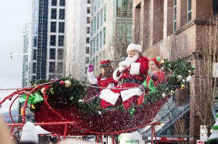 Santa Claus at christmas parade downtown -isolated - Vancouver, BC, CANADA, December 2, 2012 Editöryel
