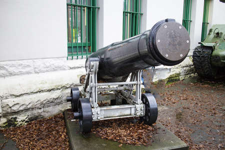 cannon displayed in front of armed forces building Stok Fotoğraf - 17003146