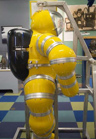 deep sea diving suit on display