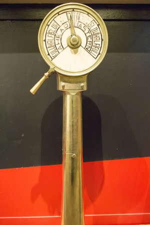 astern: nautical engine order telegraph on display Editorial