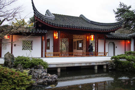 dwelling: oriental house at twilight