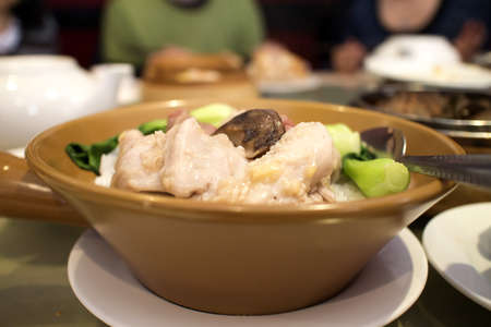 chinese dim sum - pork and greens with rice