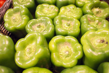 green bell peppers at market photo