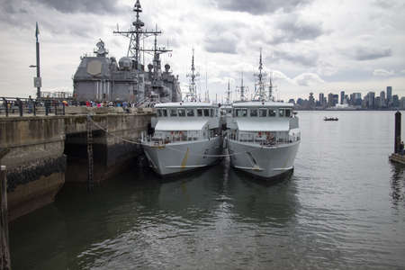 lonsdale: some canadian and american ships anchored at lonsdale quay Editorial
