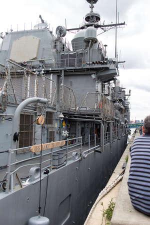 millitary: naval vessel docked Editorial