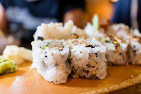 tekka: some tuna tekka roll on platter Stock Photo