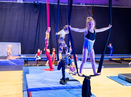 Vancouver, Canada -- June 24, 2013: Group A KIds perform at CircusWest year-end show at Garden Auditorium.