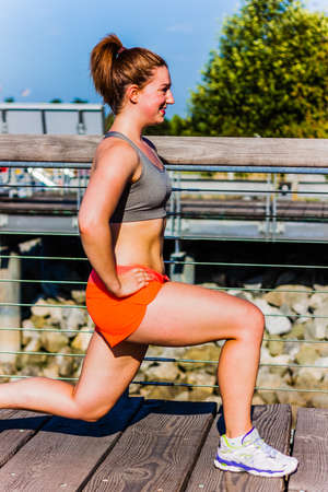 fitness girl lunge - side view