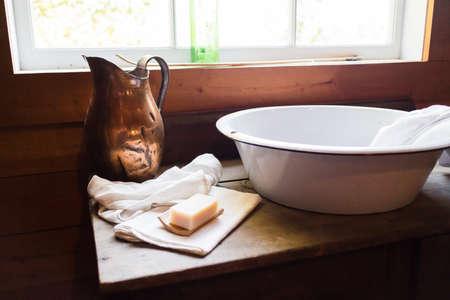 wash basin: an old wash basin in old room
