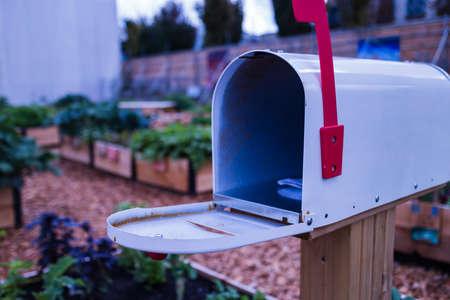 an open mailbox in garden Stok Fotoğraf