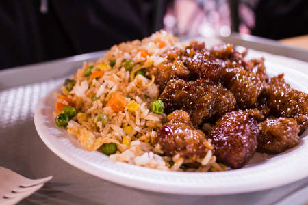 some fried rice and ginger beef Stok Fotoğraf