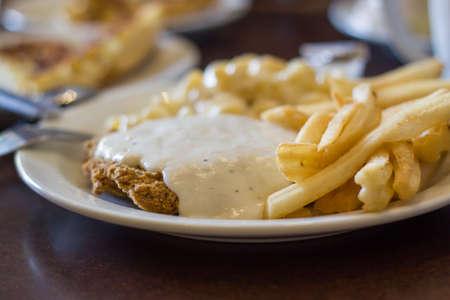 Chicken fried steak with fries Stok Fotoğraf