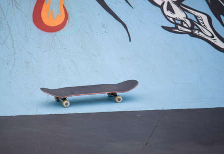 a customized Skateboard in the concrete park