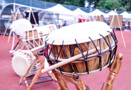 a large Korean drum at festival grounds
