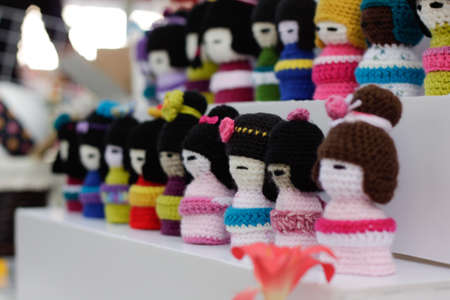 Some colorful woolen dolls at japanese festival