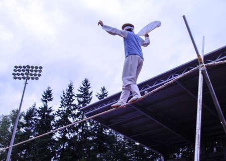 A daring Korean tightrope walker at festival grounds Editöryel