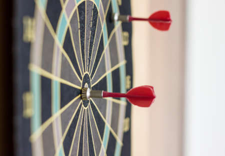 a small red dart on the bulls eye