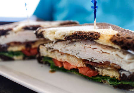 a clubhouse sandwich on marble rye bread