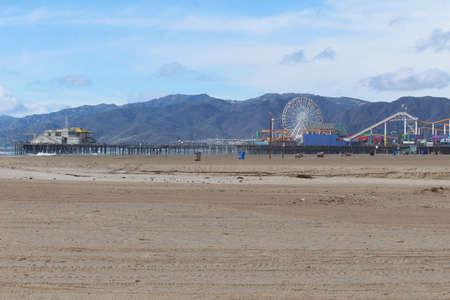 Santa Monica Pier on a windy January day Stok Fotoğraf