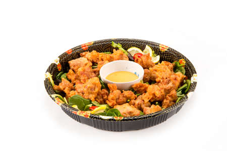 karaage party tray in a fancy bowl on white