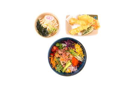 poke bowl and udon and tempura combo on white Stok Fotoğraf