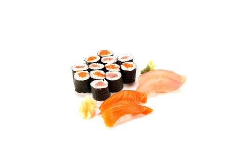 salmon roll and tuna roll combo on white