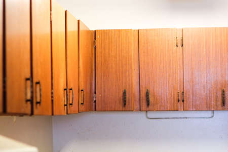 old wooden kitchen cabinets in old house