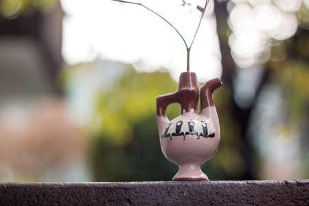 fennel stalk in a decorative clay jar
