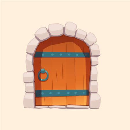 doors wooden stone medieval vector