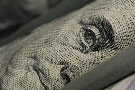 Benjamin Franklin portrait macro usa dollar banknote or bill. Close up