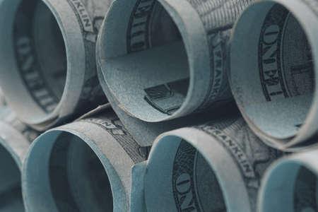 Us Dollars Rolled Up. Close up. Soft focus Banco de Imagens
