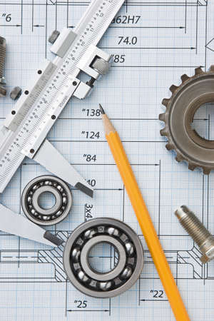 engineering tools: tools and mechanisms detail on the background of technical drawings