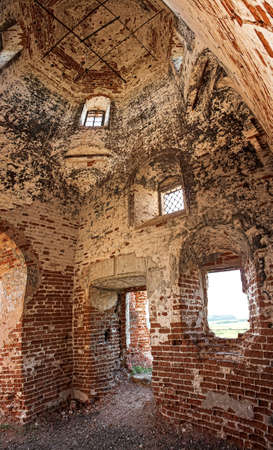 ruined ancient dilapidated brick church photo