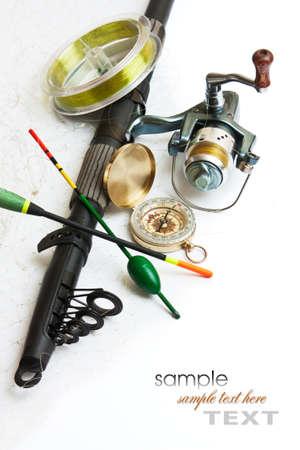 pesca: Las artes de pesca se encuentra aislado en un fondo blanco Foto de archivo
