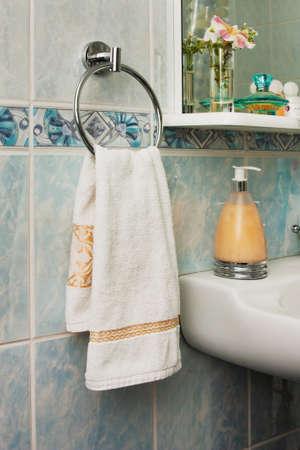 towel on the rack in the bathroom