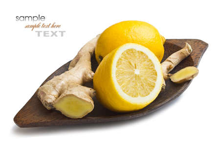 organic lemon: Ginger and lemon isolated on white background