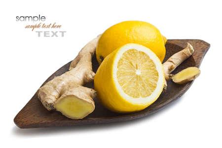 fresh ginger: Ginger and lemon isolated on white background
