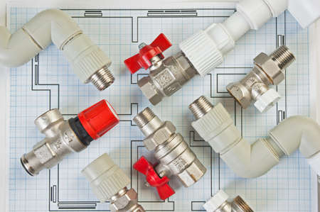 conduit: Plumbing fixtures and piping parts Stock Photo