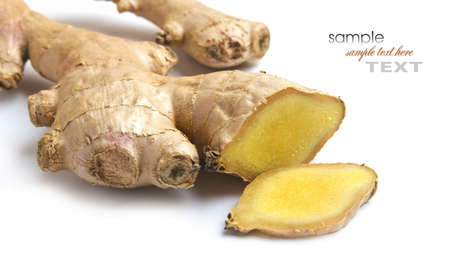 Ginger for making medicinal drinks isolated on white background photo