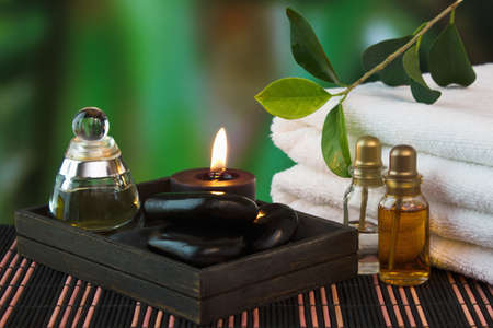 tools and accessories for spa treatments and relaxation Stock Photo