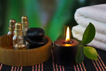 stone therapy: tools and accessories for spa treatments and relaxation Stock Photo