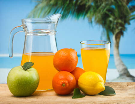 orange juice in a glass on a table with oranges Stock Photo - 12660367
