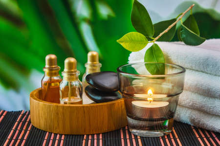 aromatherapy oils: tools and accessories for spa treatments and relaxation Stock Photo