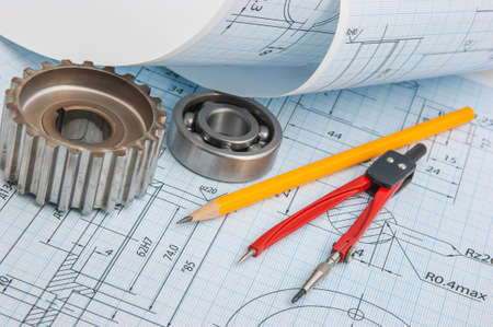 chock: tools and mechanisms detail on the background of technical drawings