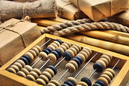 Still Life in a warehouse with  abacus in old-style photo